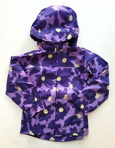 Land's End S 4 Girls Floral Purple Packable Rain Jacket Coat RC1-5