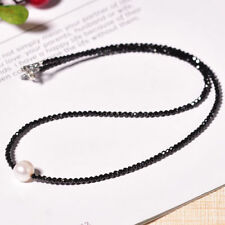 Natural Black Spinel 2mm&Freshwater Pearl 925 sterling silver Choker necklace