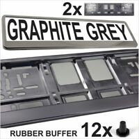 2x NUMBER PLATES SURROUNDS GRAPHITE GREY HOLDER FRAME FOR ANY CAR HIGH QUALITY
