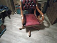 More details for vintage red/brown leather captains office chair