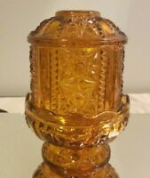 Vintage Indiana Glass Amber Stars and Bars Fairy Lamp