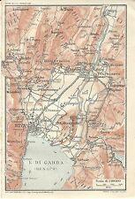 Carta geografica antica LAGO DI GARDA Riva Torbole TCI 1920 Antique map