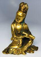 "Antique 19th Century Chinese Buddhist Bronze Guan Yin Holding Scroll Statue 4"""