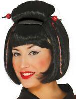 PERRUQUE Noire JAPONAISE Déguisement Femme Chinoise Geisha NEUF