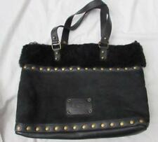 UGG black Ultra Motor Tote studded suede shearling leather handbag UL612 FAB