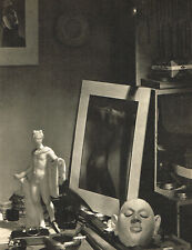 1940s Vintage Lionel Wendt Work Table Male Nude Buddhist Photo Gravure Print