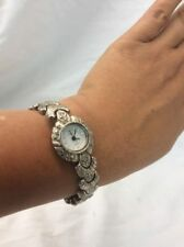 Beautiful Vtg Sterling Silver 925 Marcasite Watch bracelet