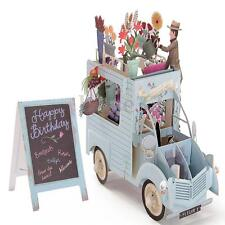 3D Pop Up Greeting Cards Car of Flowers Valentine Birthday Easter Invitations