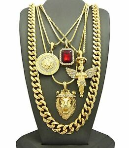 MENS KING LION ANGEL MEDALLION RED  PENDANT CUBAN CHAIN 5 NECKLACE SET