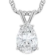 Vs 3 CT Solitario Forma de Pera Colgante Collar de mujer de oro blanco 14k