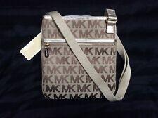 NEW Michael Kors Signature w/Webbing Jacquard BG/EB/GOLD Crossbody Bag