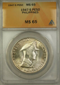 1947-S Philippines Silver Peso Coin ANACS MS 65 KM#185