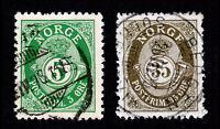 NORWAY NORWEGIAN POSTHORN & CROWN ISSUE 5 ØRE AND 35 ØRE STAMPS USED