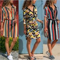 Woman Long Sleeve T-shirt dress Stripes Printed Button Bandage dress S-XL 3Color