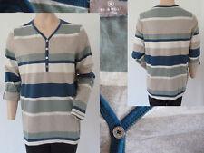 s.Oliver Shirt Girl V-Ausschnitt Knöpfe Langarm Blockstreifen Grün Blau 44 Top