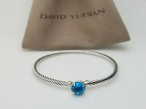 David Yurman Women's Cable 3mm Chatelaine Bracelet & Blue Topaz size large