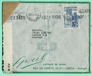 PORTUGAL 1941 WWII CENSORED 'EXAMINER 2208' AD COVER > LONDON 1$75 Rate