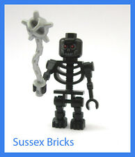 Lego Castle Fantasy Era - Scary Black Evil Skeleton + Mace Rare Colour Brand New