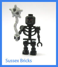 Lego Castle Fantasy Era - Scary Black Evil Skeleton + Mace Rare Colour Brand New