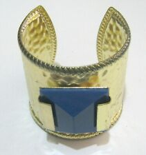 Lovely statement style gold tone metal cuff bracelet large pyramid bead blue