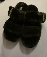 UGG FUZZ YEAH Black SIZE 7 BRAND NEW AUTHENTIC WOMAN SLIPPER