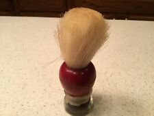 Vintage Men's Shaving Barber Brush Used Sterilized Peerless Red & Clear Handle