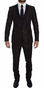 DOLCE & GABBANA Brown Black Shiny 3 Piece Slim Suit Tuxedo EU46/US36/S