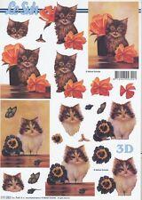 Feuille 3D à découper A4 - 777.282 Chat et fleurs - Decoupage Cat and Flower