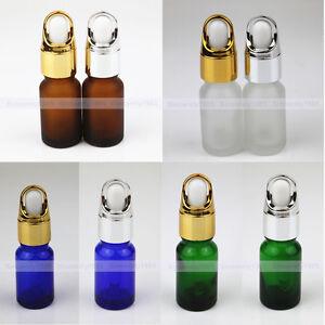 1/3oz 10ml Amber Blue Green Glass Bottles w/GOLD BASKET Eye Dropper More Stable
