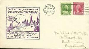 SS Manhattan First Voyage Cacheted Cover German Sea Post Cancel Aug 10 1932