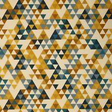 Stoff Baumwolle Swafing Leona beschichtet, Dreiecke, blau, goldgelb, Restposten