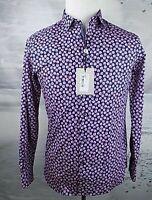 $159 NWT Ted Baker London Pink LS Floral Geo Print Shirt Size-Medium ( 3-EU)