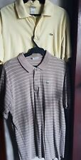 SET OF 2: LACOSTE MEN'S COLLARED POLO SHIRTS, BEIGE & YELLOW Large 5/6