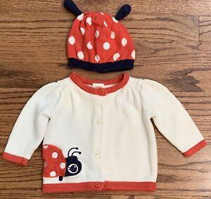 Gymboree Smart Little Lady Cardigan Sweater & Ladybug Hat Size 3-6m Baby Girl