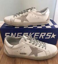 Golden Goose Da Uomo Superstar Classico Bianco Argento Sneaker Tg UK 7 EU 41 NUOVI