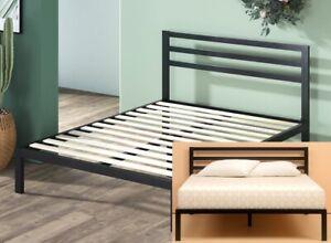 Bed Frame Platform Headboard Queen Size Metal High Profile Wooden Slats New