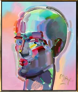 Peter Max, Neo Head, Acrylic on Canvas, signed l.r