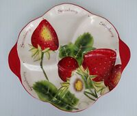 Pier One Imports Strawberry Round Divided Serving Tray Platter 16.5 inches