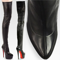 CHRISTIAN LOUBOUTIN Monicarina BLACK LEATHER OVER THE KNEE BOOTS EU 39.5 US 9.0