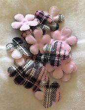 Felt Padded Flower Pink Black & White Check  X 16