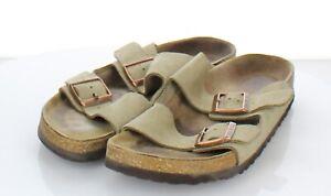 F30 $135 Women's Sz 40 N Birkenstock Arizona Suede Soft Footbed Sandal In Taupe