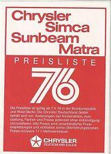 ✇ Original Chrysler Simca Matra Preisliste von 1976 + Farbcodes + Ausstattungen
