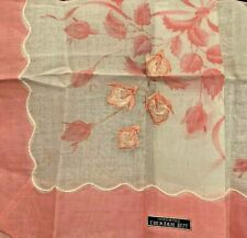 Vintage Brand New 100% Cotton Pink and White Handkerchief Made in Japan