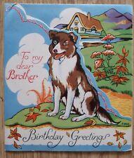 "Vintage ""MIA"" Dog Birthday Greetings Card, Unused, To My Dear Brother, Ephemera"
