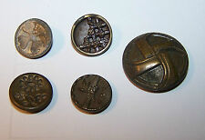 LOT-5 ANTIQUE METAL BUTTONS-ALL DIFFERENT-CLOVER-FLORAL-ABSTRACT-ART-CRAFT