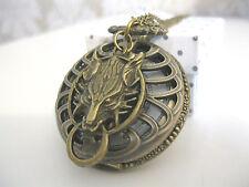 Reloj de Bolsillo nuevo Bronce Antigua Lobo STEAMPUNK GÓTICAS Collar Joyería De Fantasía