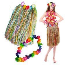 10 x Hawaiian Adult 60cm L Grass Skirt & Lei Hula Flower Garland Fancy Dress QR7