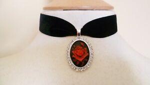 Black Velvet Red Rose Cameo Choker Pick your neck size