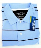 Nautica Golf Polo Shirt Mens L Light Blue Stripes Classic Fit Breathable Wicking