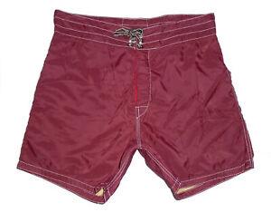 "BIRDWELL BEACH BRITCHES Board Shorts MAROON 5"" Vtg USA Swim Suit Trunks Mens 29"